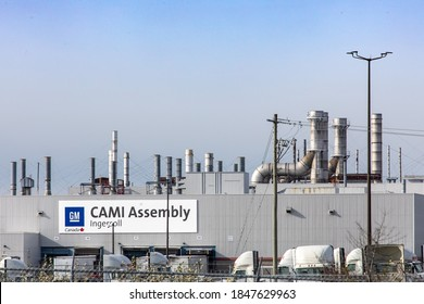 Ingersoll Canada, November 2, 2020; The GM sign on the factory buildings of the CAMI General Motors factory in Ingersoll, Canada