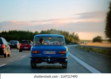 Ingleshtadt, Germany - 10.09.2017: Russian car Lada on the roads of Germany