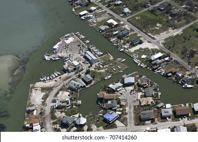 Ingleside on the Bay after Hurricane Harvey boats sunk homes damaged