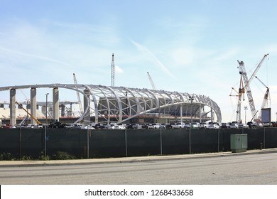 INGLEWOOD CA - DECEMBER 26, 2018: The construction site for the new stadium for the Los Angeles Rams  across from the Forum in Inglewood December 26, 2018.