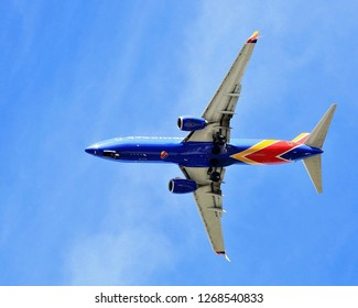 INGLEWOOD CA - DECEMBER 27, 2018: Jet airplane approaching LAX over the Christmas holiday season December 26, 2018 Inglewood CA.