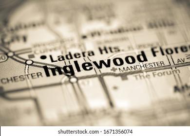 Inglewood. California. USA on a map