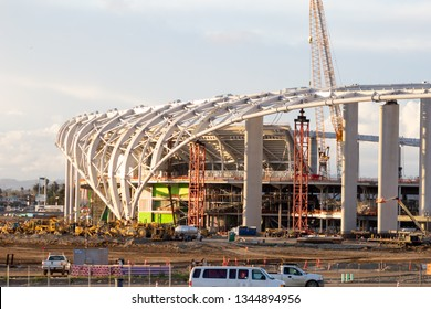 Inglewood, California/United States - 03/20/19: Current construction progress of the Los Angeles stadium, home to Rams and Chargers