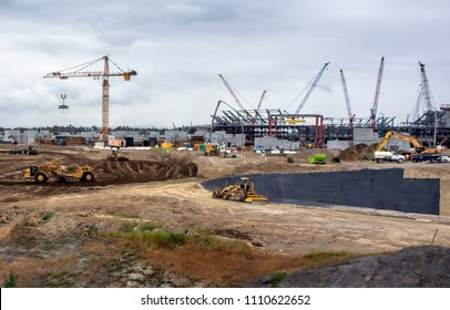 INGLEWOOD, CALIFORNIA/USA - MAY 3, 2018: The new NFL stadium for the Los Angeles Rams and Los Angeles Chargers being built on a massive construction site. It is expected to be completed in 2020.