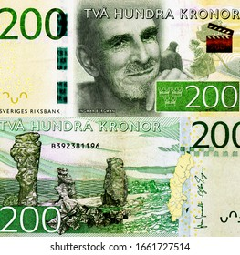 Ingmar Bergman Portrait from Swedish 200 Kronor 2015 Banknotes. An Old paper banknote, vintage retro. Famous ancient Banknotes. Collection.