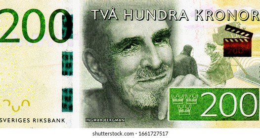 Ingmar Bergman, Portrait from Swedish 200 Kronor 2015 Banknotes. An Old paper banknote, vintage retro. Famous ancient Banknotes. Collection.