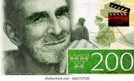Ingmar Bergman Portrait from Swedish 200 Kronor 2015 Banknotes.