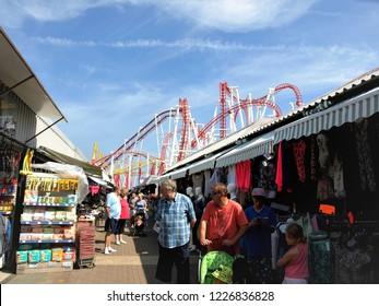 Ingoldmells, Skegness, Lincolnshire,UK  July 17,2014. . The permanent outdoor market and funfair at Fantasy Island at Ingoldmells near Skegness in Lincolnshire, UK.