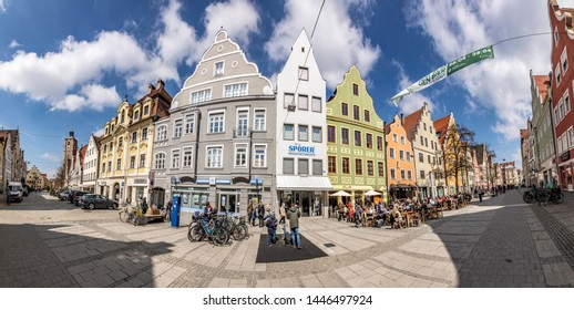 Ingolstadt, Germany - APR 6, 2019: panoramic view at the pedestrian Zone in the old touristic part of Ingolstadt.