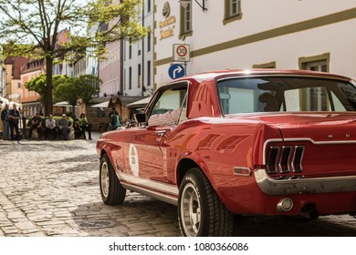 INGOLSTADT - GERMANY, APRIL 28: Ford Mustang car at 2018 Audi Regio Sprint on April 28, 2018