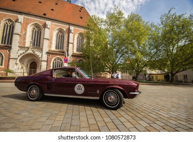 INGOLSTADT - GERMANY, APRIL 28: Ford Mustang car from 1967 at 2018 Audi Regio Sprint on April 28, 2018