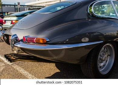 INGOLSTADT - GERMANY, APRIL 28: Jaguar E Type at 2018 Audi Regio Sprint on April 28, 2018