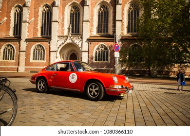 INGOLSTADT - GERMANY, APRIL 28: Porsche 911 car from 1971 at 2018 Audi Regio Sprint on April 28, 2018
