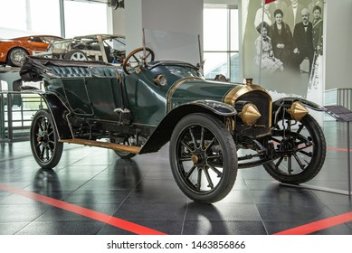 Ingolstadt, Germany - April 9, 2019: Audi 10/26 PS TYP A Phaeton 1911 the first Audi car designed by August Horch and Hermann Lange appeared on the German market in May 1910. Audi museum mobile.