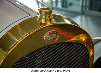Ingolstadt, Germany - April 9, 2019: Audi 22/55 TYP E Phaeton 1913 old classic retro vintage 1910s car radiator grille. Audi museum mobile.
