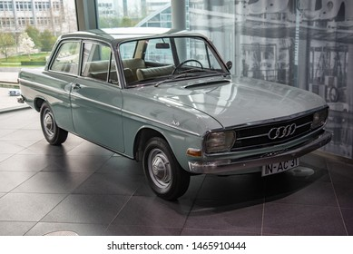 Ingolstadt, Germany - April 9, 2019: Audi 72 (F103) classic German 1960s car. First AUDI named vehicle by Auto Union.