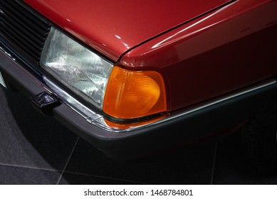 Ingolstadt, Germany - April 9, 2019: Audi 100 1982 third generation classic German saloon 1980s car with 0.30 aerodynamic drag coefficient.