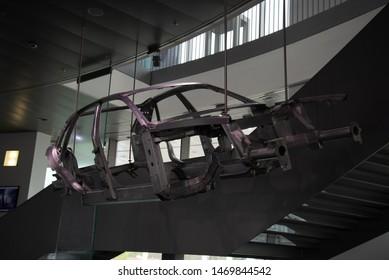 Ingolstadt, Germany - April 9, 2019: Audi Space Frame (ASF) Concept 1990s car body