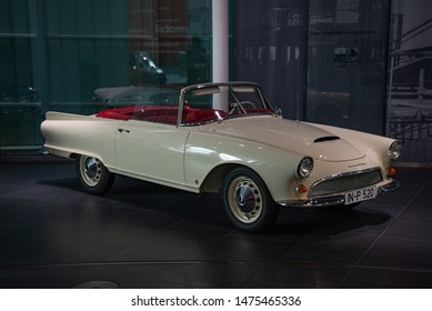 Ingolstadt, Germany - April 9, 2019: Auto Union 1000 SP Roadster classic German luxury open roof cabriolet by Baur coachbuilder 1960s car in the Audi museum.
