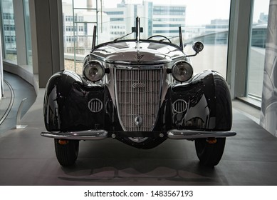 Ingolstadt, Germany - April 9, 2019: Wanderer W 25 K Roadster luxury German pre-war cabriolet convertible 1930s executive car. One of 259 produced.