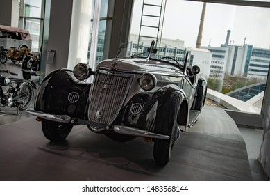 Ingolstadt, Germany - April 9, 2019: Wanderer W 25 K Roadster luxury German pre-war cabriolet convertible 1930s executive car. One of 259 produced. Audi museum mobile.
