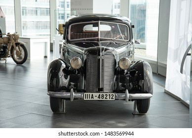 Ingolstadt, Germany - April 9, 2019: Audi 920 pre-war German luxury executive 1930s limousine car in black. One family owned car from 1939 till 1998. Audi Museum Mobile.