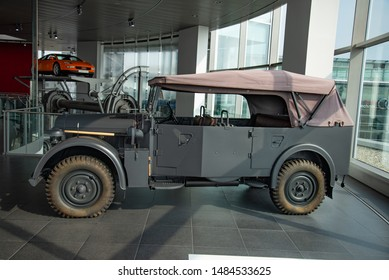 Ingolstadt, Germany - April 9, 2019: Horch 901 Typ 40 Kfz 15 1941 German army World War II 1940s military vehicle car