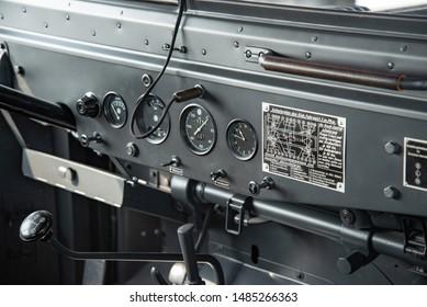 Ingolstadt, Germany - April 9, 2019: Horch 901 Typ 40 Kfz 15 1941 German army World War II 1940s military vehicle car dashboard