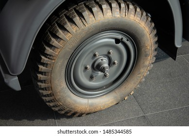 Ingolstadt, Germany - April 9, 2019: Horch 901 Typ 40 Kfz 15 1941 German army World War II 1940s military vehicle car dirty wheel