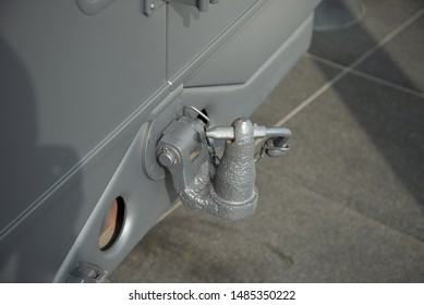 Ingolstadt, Germany - April 9, 2019: Tow hitch of Horch 901 Typ 40 Kfz 15 1941 German army World War II 1940s military vehicle car