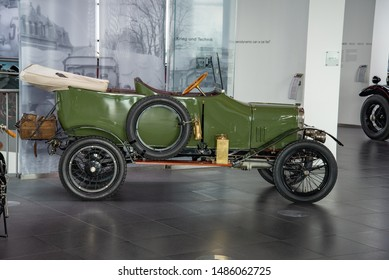 Ingolstadt, Germany - April 9, 2019: 1914 Wanderer 5/15 PS Typ W3 'Puppchen' classic German compact 1910s retro old ancient green car World War period