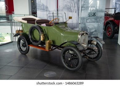 Ingolstadt, Germany - April 9, 2019: 1914 Wanderer 5/15 PS Typ W3 'Puppchen' classic German compact 1910s retro old ancient green car