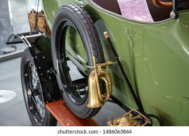 Ingolstadt, Germany - April 9, 2019: 1914 Wanderer 5/15 PS Typ W3 'Puppchen' classic German compact 1910s retro old ancient green car details