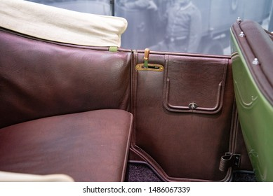 Ingolstadt, Germany - April 9, 2019: 1914 Wanderer 5/15 PS Typ W3 'Puppchen' classic German compact 1910s retro old ancient green car rear seat details
