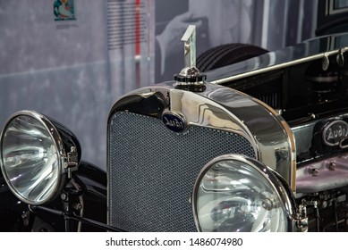 Ingolstadt, Germany - April 9, 2019: 1925 Audi 18/70 PS Schnittmodell Typ M Pullman Limousine classic German expensive luxury 1920s car cut away model car