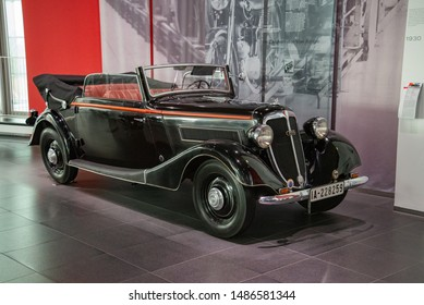 Ingolstadt, Germany - April 9, 2019: Wanderer W 40 Cabriolet 2 Fenster popular German 1930s luxury convertible old retro car with Porsche six cylinder engine