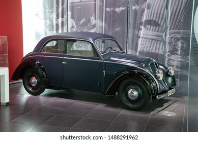 Ingolstadt, Germany - April 9, 2019: DKW Schwebklasse 1934 V4 two stroke engined classic retro old German 1930s car