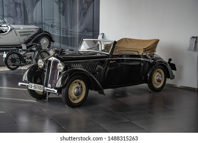 Ingolstadt, Germany - April 9, 2019: DKW F5 Front Luxus Cabriolet 'Little Horch' pre-war 1930s popular German two cylinder two stroke engined 1935 car