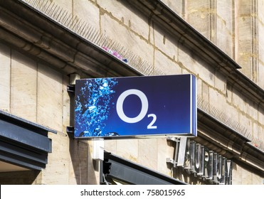 Ingolstadt, Germany - AUG 19, 2017: O2 shop. O2 is a European telecommunications company, specialized in mobile telephony owned by Telefonica