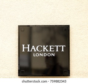 Ingolstadt, Germany, AUG 19, 2017: A Hackett clothing outlet. Hackett opened its first shop in London in 1983