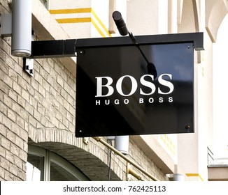 Ingolstadt, GERMANY - AUG 19, 2017: Hugo Boss store. Hugo Boss based in Metzingen in Germany it has 12,000 staff, 840 own stores and 2012 sales of EUR 2.3 billion in 129 countries.