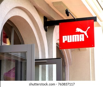 Ingolstadt, Germany - AUG 19, 2017: Puma outlet store. Puma is a major german multinational company that produces athletic, casual footwear, sportswear, headquartered in Bavaria, Germany