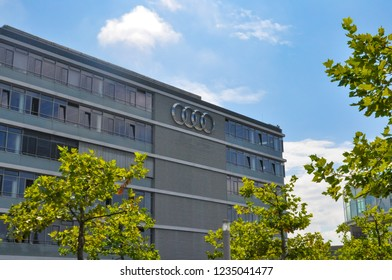 INGOLSTADT, GERMANY - AUGUST 04, 2014: AUDI headquarters. Exterior. AUDI is a German automobile brand that specializes on production of luxury vehicles