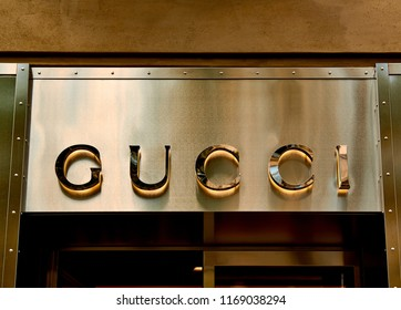 Ingolstadt, Germany -AUGUST 19, 2016: Gucci store. Gucci, an Italian fashion and leather goods brand, was founded by Guccio Gucci in Florence in 1921. Gucci has about 425 stores worldwide