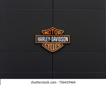 Ingolstadt, Germany, August 19, 2017: Harley-Davidson sign and logo. Harley-Davidson, Inc. is an American motorcycle manufacturer.