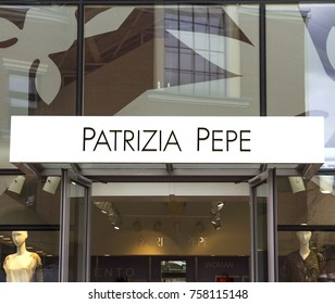 Ingolstadt, Germany - August 19, 2017: Shoppers walk by Patrizia Pepe fashion store in Ingolstadt. Patrizia Pepe is a fashion brand from Florence founded in 1993.