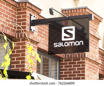 Ingolstadt, Germany -  August 19, 2017: a Salomon store in Ingolstadt. The Salomon Group is a sports equipment manufacturing company.