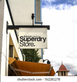 Ingolstadt, Germany - August 19, 2019: Superdry sign products combine vintage Americana styling with Japanese inspired graphics