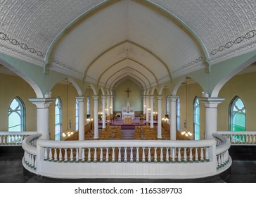 INGONISH BEACH, NOVA SCOTIA/CANADA - JULY 21, 2018:  Interior of historic St. Peter's Roman Catholic Church along the Cabot Trail in Ingonish Beach from the balcony