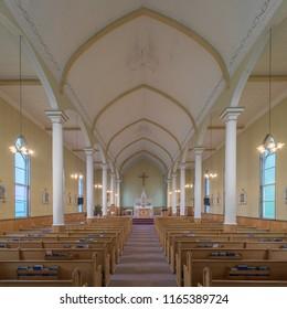 INGONISH BEACH, NOVA SCOTIA/CANADA - JULY 21, 2018:  Interior of the historic St. Peter's Roman Catholic Church at 37384 Cabot Trail in Ingonish Beach, Nova Scotia